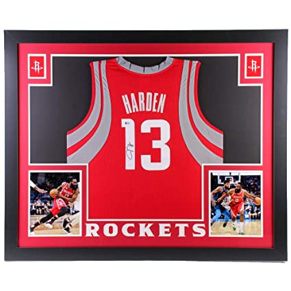 10c3abd2 James Harden Autographed Signed Rockets Custom Framed Jersey 35x43 (Beckett  COA) Houston All Star