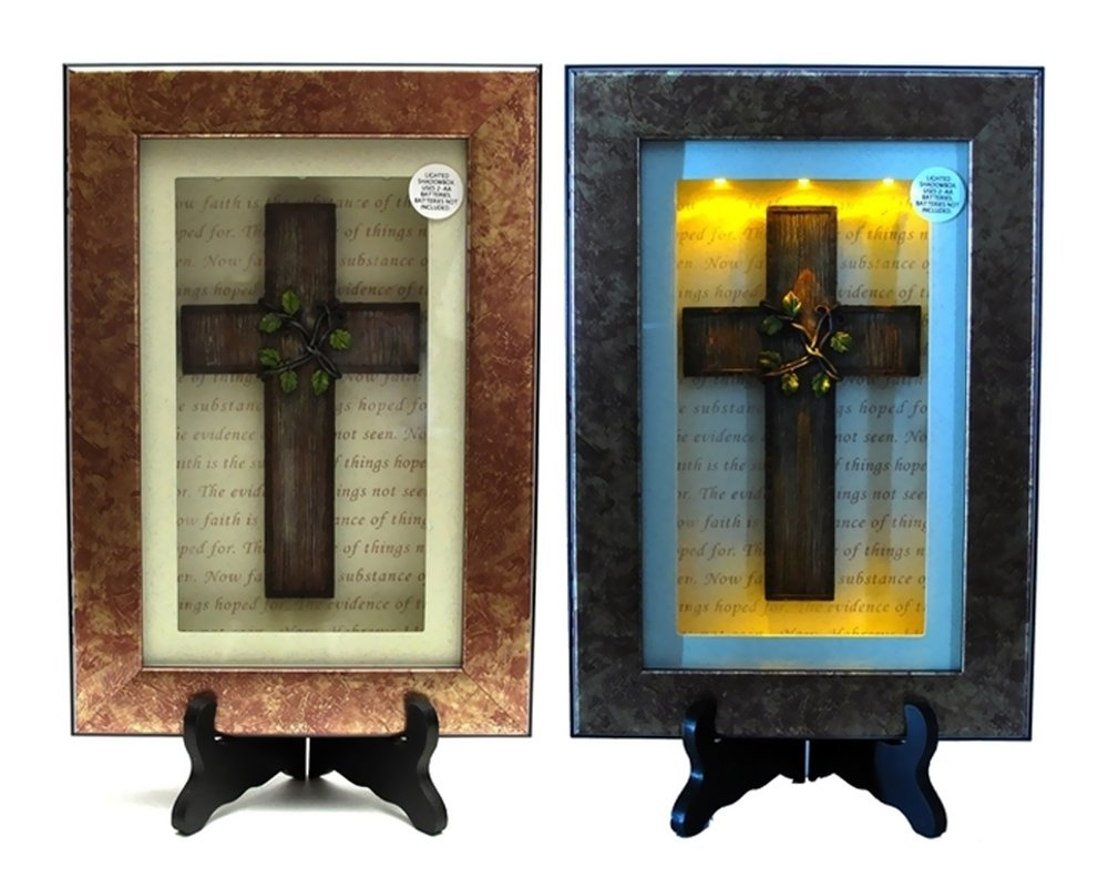 Iwgac Home Indoor Outdoor Office Decor Spiritual Harvest Vine Cross Lighted Shadow Box by IWGAC