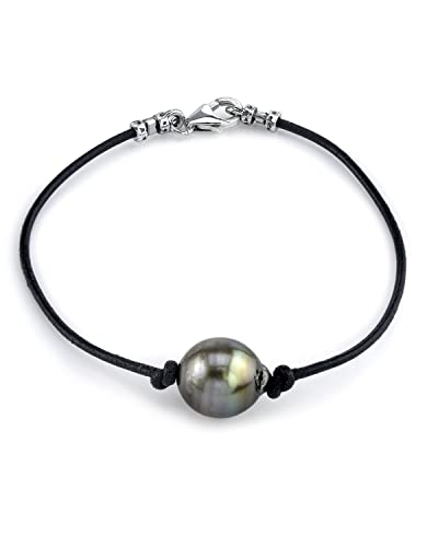 The Pearl Source 10mm Tahitian Baroque Cultured Pearl Leather Bracelet n6Kz0mkx