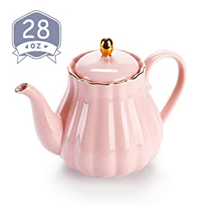 Amazingware Royal Teapot, Porcelain Tea Pot with Stainless Steel Infuser, with a Filter for Loose Tea, Pumpkin Fluted Shape - 28oz, Pink