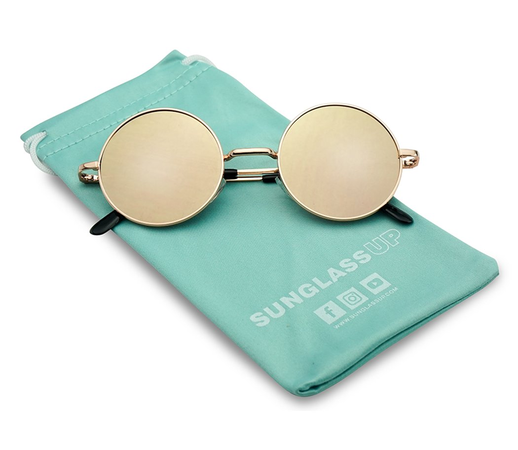 Rose Gold Frame and Rose Pink Flat Mirrored Small Round 1970's Bohemian Hipster Trendy Sunglasses by SunglassUP