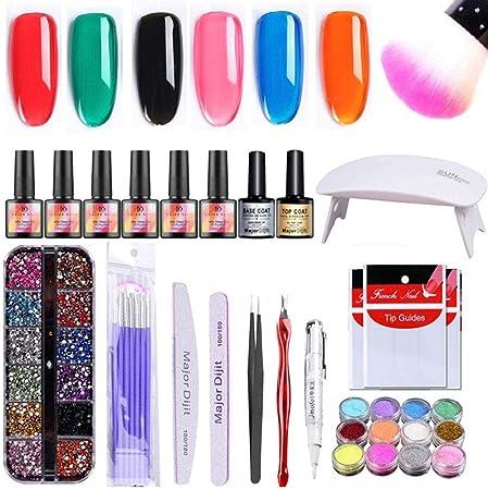 32 Pack esmaltes uñas gel, 6 colores esmalte de uñas gel arcoíris ...