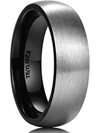 king will 7mm titanium ring brushed black - Black Mens Wedding Rings