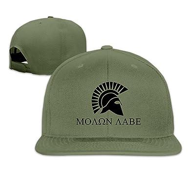 907df5aff Spartan Warrior Molon Labe 1 Hats Flat Caps ForestGreen at Amazon ...