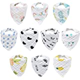 10-Pack Baby Bibs, HECCEI Bandana Drool Bibs for Drooling and Teething, 100% Organic Cotton, Soft and Absorbent…