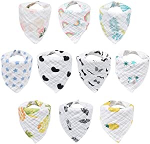10-Pack Baby Bibs, HECCEI Bandana Drool Bibs for Drooling and Teething, 100% Organic Cotton, Soft and Absorbent, Hypoallergenic Unisex Bibs for Baby Boys & Girls, Teething Bibs for Infant, Toddler (Mixed Pattern Bib)