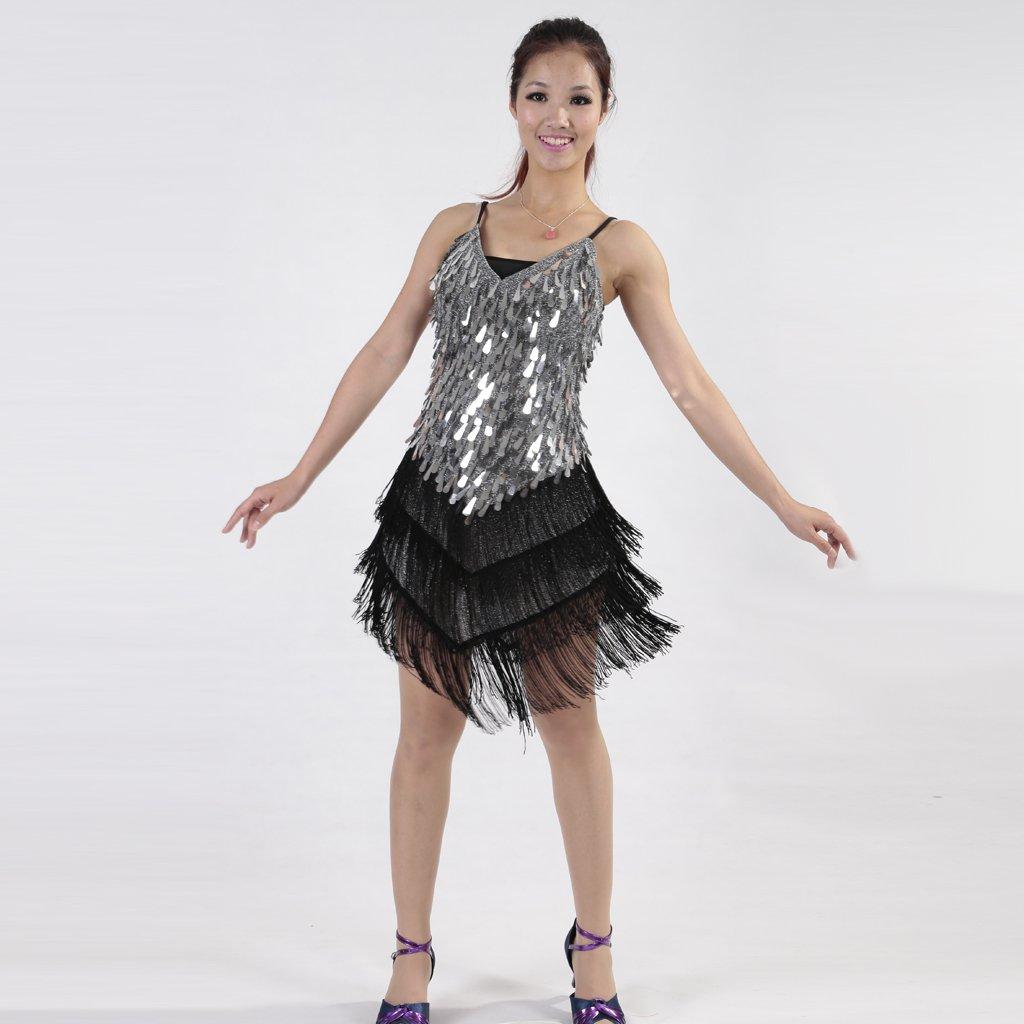 D DOLITY Tracolla Regolabile Vestito Da Ballo Vestito Gonna Frange Di  Paillettes per Donna - Nero 696312300d8
