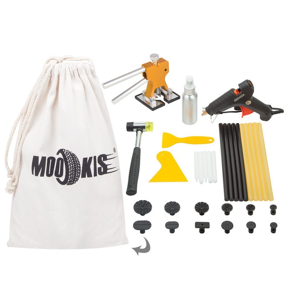 Mookis Outils Débosselage sans peinture,Réparation dent de Paintless,34 pcs Carrosserie outils kits Extracteur de colle bosse voiture Pistolet à colle