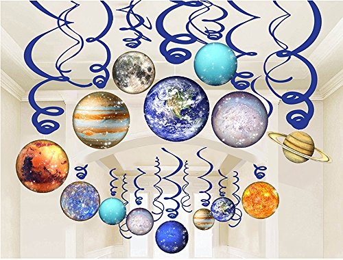 - LINDOO 30Pcs Solar System Party Supplies - Outer Space Party Planet Hanging Swirl Decorations