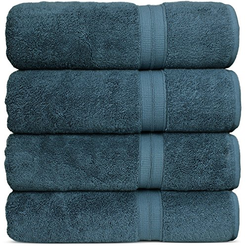 Luxury Premium Turkish Cotton 4-Piece Bath Towels, Long-Stable 20/2, 2 Ply Turkish Ring-Spun Cotton Yarn makes the luxe-factor, Eco-Friendly, (True Blue)