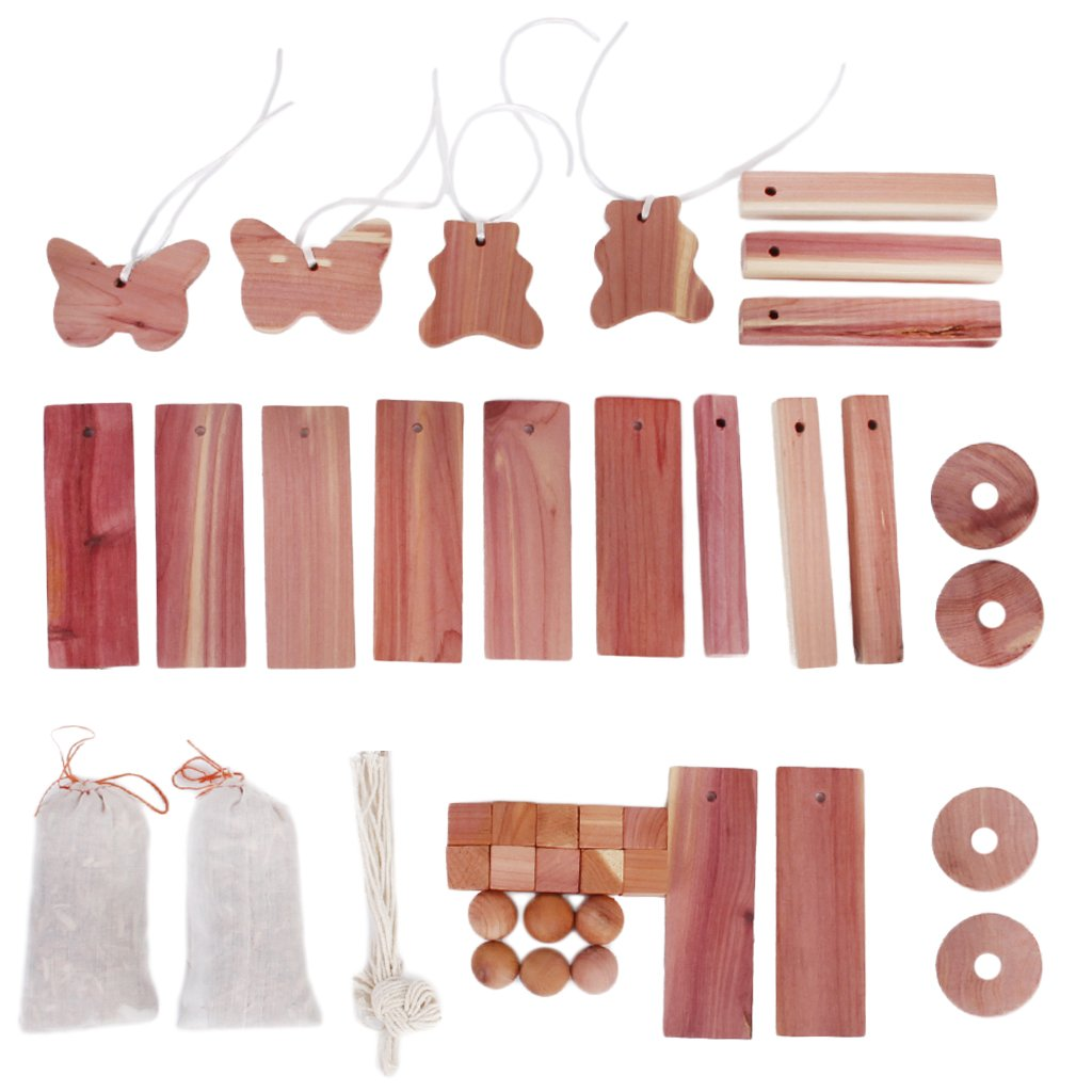 Fityle 40pcs Natural Cedar Wood Moth Balls Hangers Blocks Repellent Wardrobe Drawer
