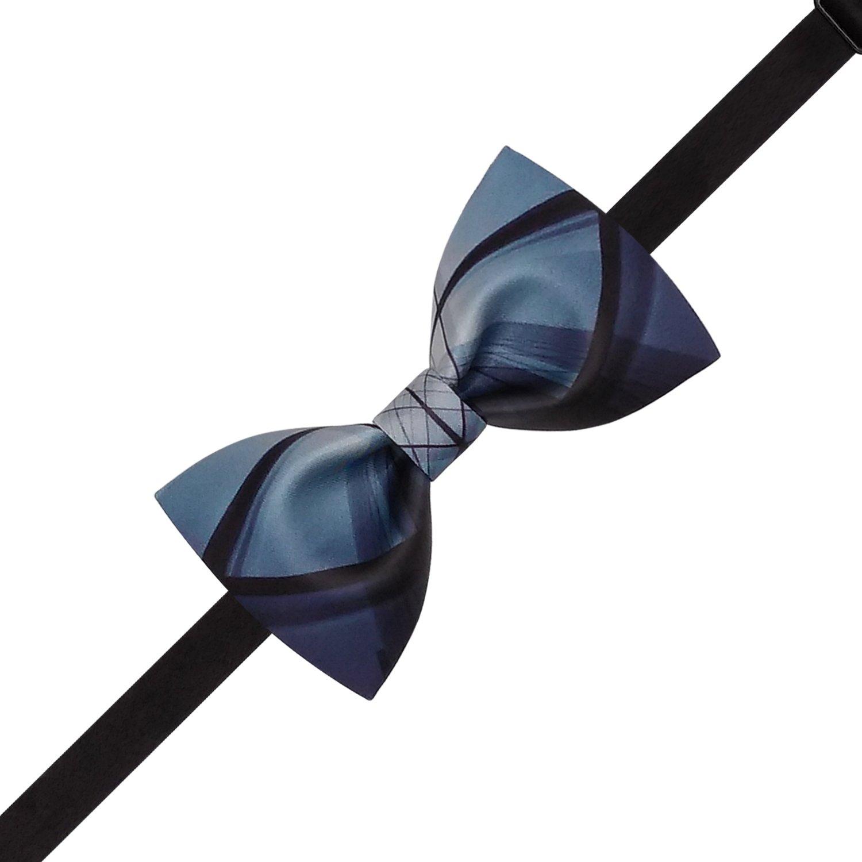 Lanzonia Designer Black and Blue Patchwork Print Mens Bow Tie