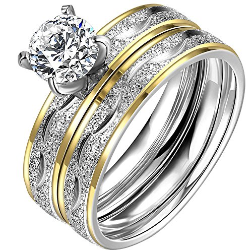LWLH Jewelry Womens 18K Yellow Gold Plated Temperament Rings Set Solitaire Cubic Zirconia CZ Wedding Band Szie 7