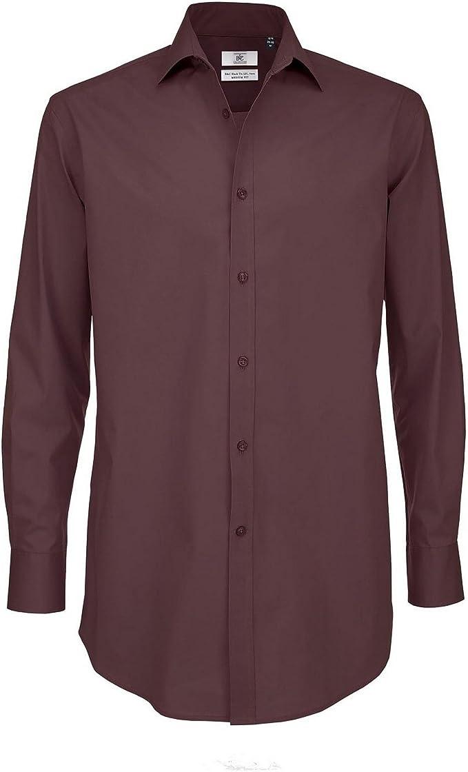 B&C Camisa Formal de Manga Larga Smart Modelo Black Tie - Trabajo/Fiesta/Verano