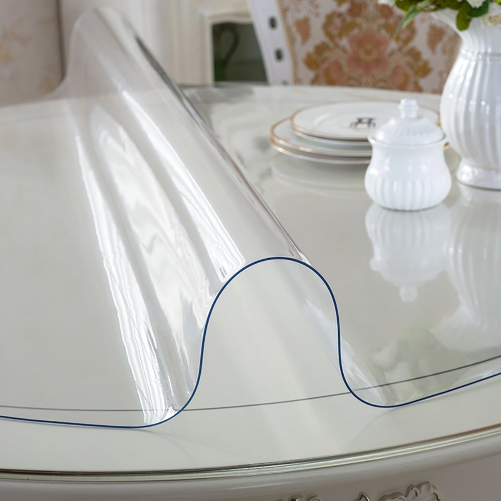 MAGILONA Home Round Tablecover Waterproof PVC 1.5mm Thick Protector for Table/Desk Table Pads Table Covers Heat Protection Custom Size (24 Inch(60cm), Clear)