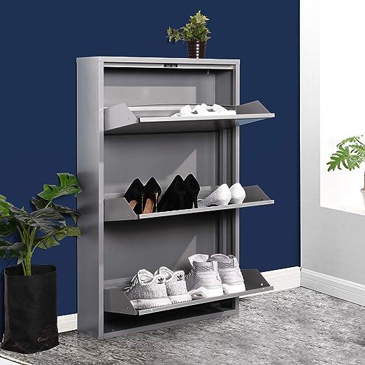 FURNISH1 Gabinete de Zapatas de Metal con cajón de 3 Niveles, Organizador de Almacenamiento de Zapatos con Puertas para Sala de Estar y Dormitorio (Gris): Amazon.es ...