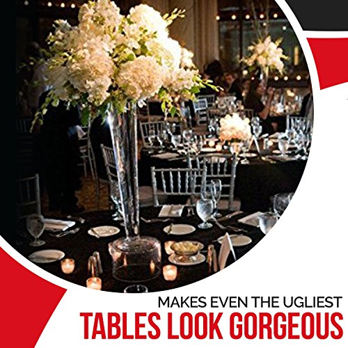 Spring Rose(TM) 120 Inch Black Polyester Round Tablecloth (set of 10). by Spring Rose (Image #3)