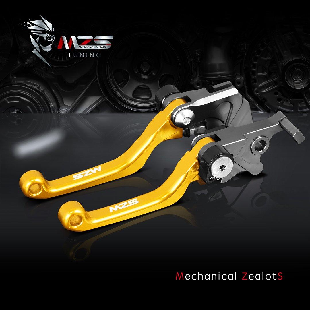 MZS Pivot Levers Pivot Brake Clutch Foldable CNC Gray compatible Yamaha YZ125 YZ250 YZ250F YZ426F YZ450F 2001 2002 2003 2004 2005 2006