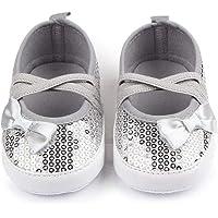 Nagodu Zapatos para Bebe niña Color Plata Brillante de Lentejuelas, Cintas Cruzadas y moñito en un Lado, Hermoso diseño Plateados, Diferentes Medidas