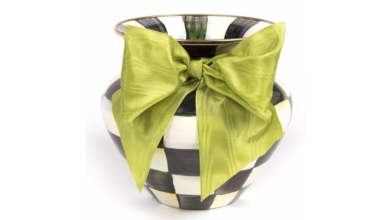 MacKenzie-Childs Courtly Check Enamel Large Vase Green Bow