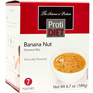 ProtiDiet Oatmeal - Banana Nut (7/Box) - High Protein 15g - Low Calorie - Low Fat
