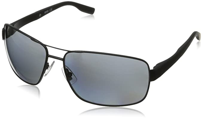 BOSS by Hugo Boss B0521S Polarized Wrap Sunglasses,Matte Black,64 mm