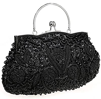 Albabara Satin Beaded Handmade Clutch Purse Evening Handbags