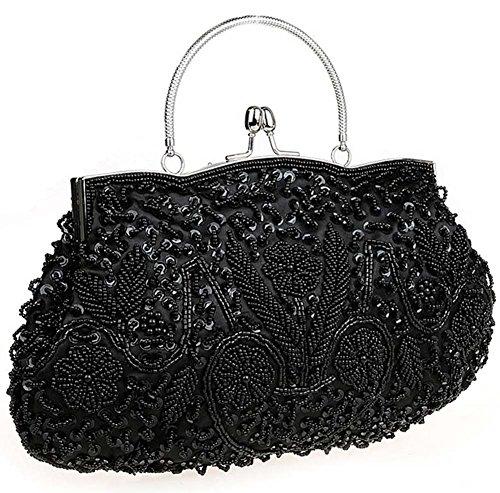 Albabara Satin Beaded Handmade Clutch Purse Evening Handbags,Black