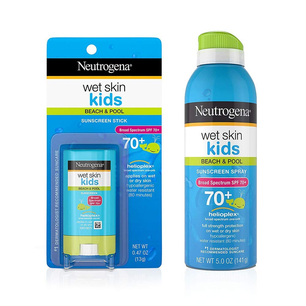 Neutrogena Wet Skin Kids Stick Sunscreen Broad Spectrum SPF 70 0.47 oz & Neutrogena Wet Skin Kids Sunscreen Spray Broad Spectrum SPF 70+ 5 oz 1 ea by Neutrogena