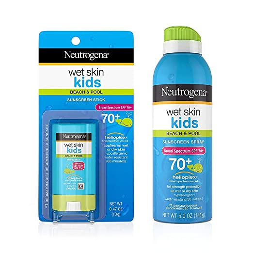 Neutrogena Wet Skin Kids Stick Sunscreen Broad Spectrum SPF 70 0.47 oz & Neutrogena Wet Skin Kids Sunscreen Spray Broad Spectrum SPF 70+ 5 oz 1 ea Best Kids' Sunblock