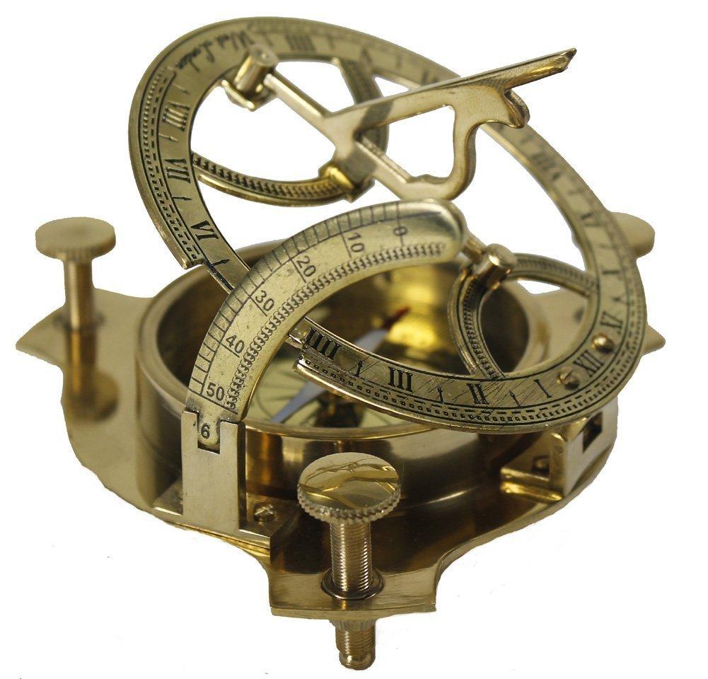 . 4'' Sundial Compass - Solid Brass Sun Dial A