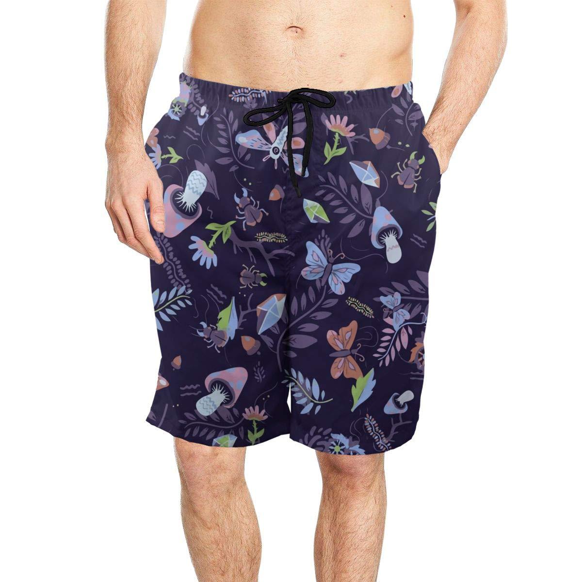 Ling Lake Shroomy Forest Night Mens Beach Shorts Board Shorts Summer Swim Trunks