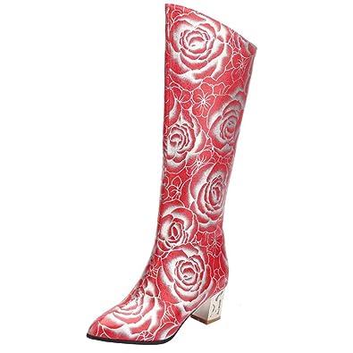 4322d56363 AIYOUMEI Damen Kniehohe Stiefel mit Blumenmuster und 5cm Absatz Dicker  Absatz Winter Stiefel: Amazon.de: Schuhe & Handtaschen