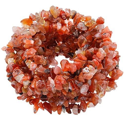SUNYIK Carnelian Tumbled Chip Stone Irregular Shaped Drilled Loose Beads Strand for Jewelry Making 35