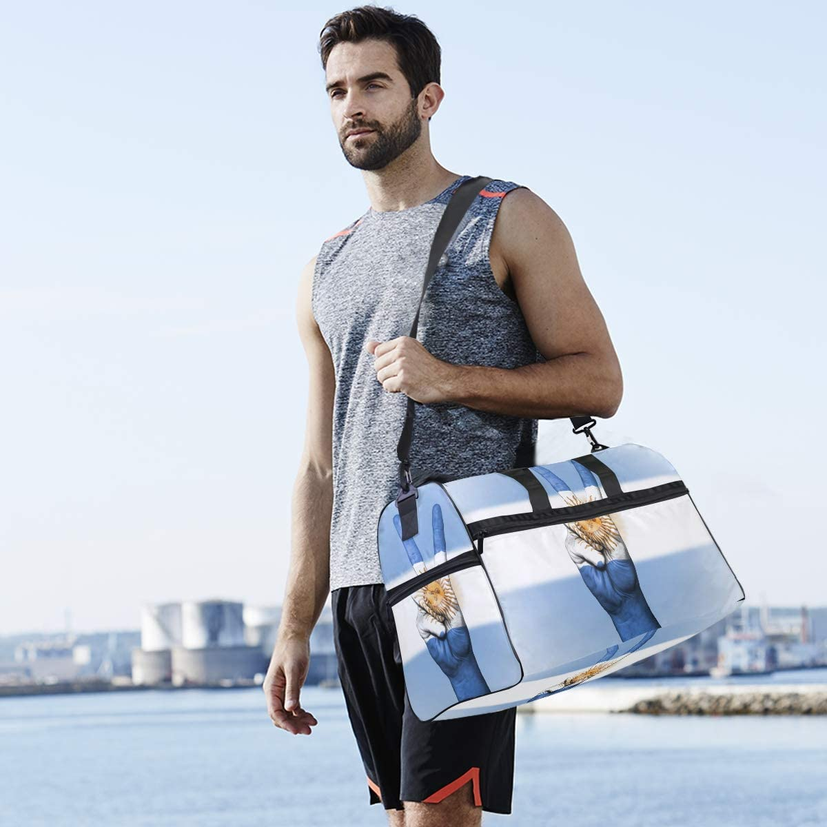 MUOOUM Argentina Flag Peace Hand Large Duffle Bags Sports Gym Bag with Shoes Compartment for Men and Women