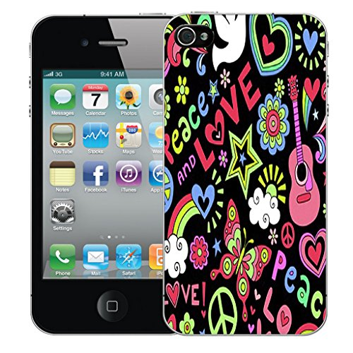 Mobile Case Mate iPhone 4s Silicone Coque couverture case cover Pare-chocs + STYLET - Love and Peace pattern (SILICON)