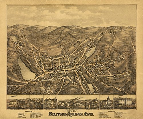 Stafford Springs, Connecticut - Panoramic Map (16x24 SIGNED Print Master Giclee Print w/Certificate of Authenticity - Wall Decor Travel Poster)