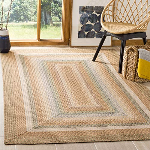Safavieh Braided Collection BRD314A Hand Woven Tan and Multi Area Rug 3 x 5