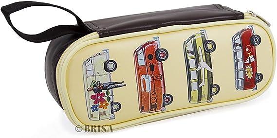 BRISA VW Collection - Volkswagen Furgoneta Hippie Bus T1 Van Estuche para lápices de polipiel (PU), Caja de papelería,Bolso de Maquillaje-Cosméticos, para Escuela/Oficina/Regalo (Vehículos especiales): Amazon.es: Coche y moto