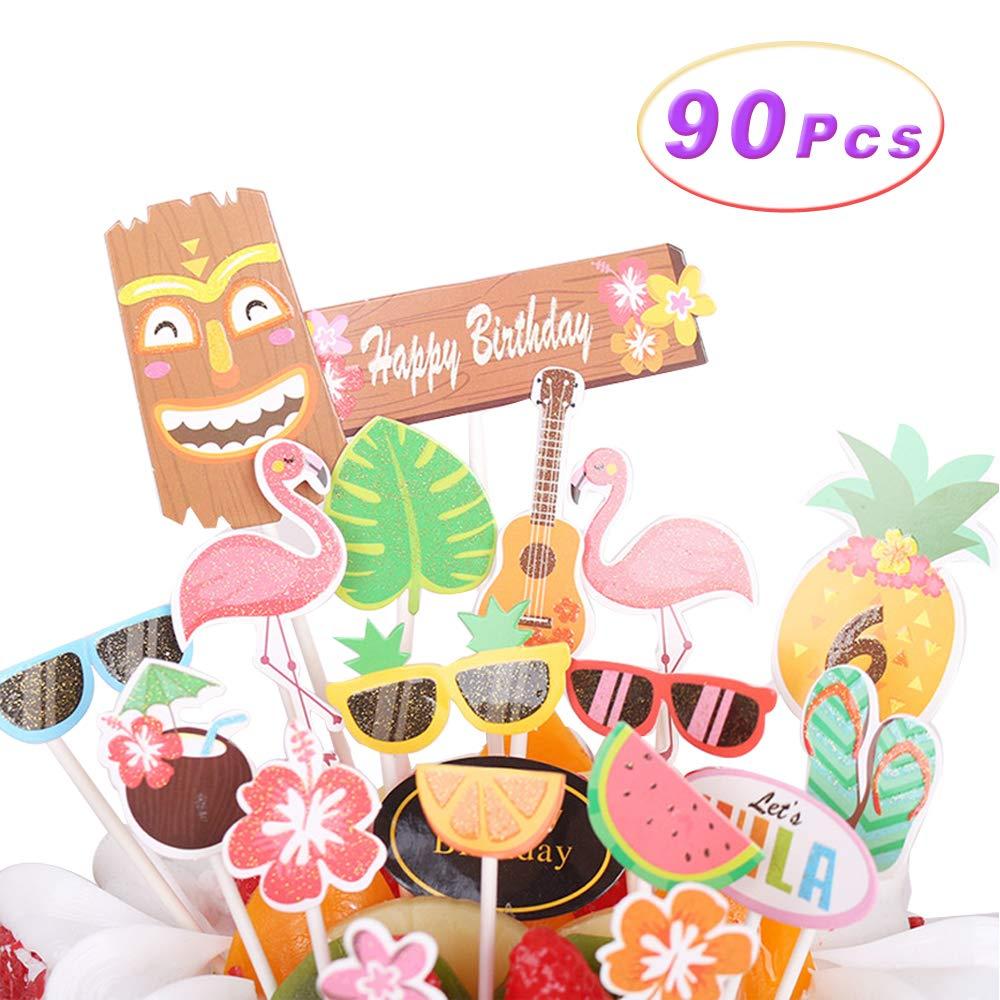 90Pcs Cupcake Toppers Baking Cake Decoration Crystal Glitter Hawaiian Cake Toppers for Hawaiian Luau Summer Flamingo birthday Parties