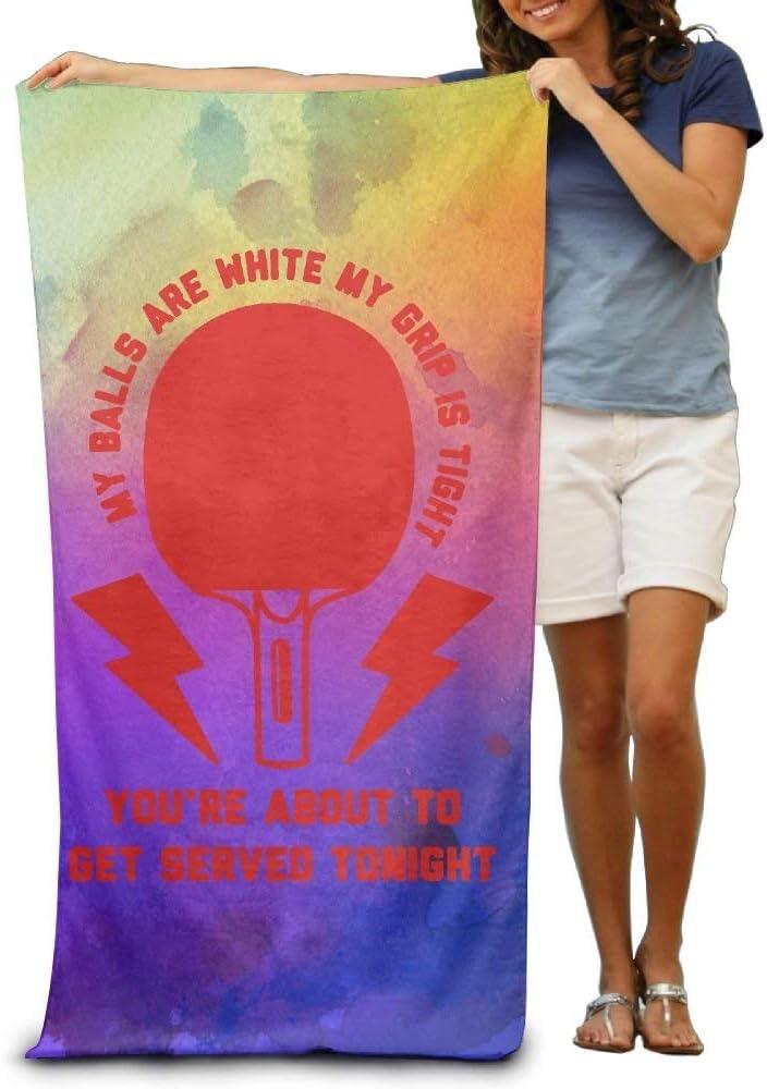 Mis Bolas Son Blancas Mi Agarre es Apretado Ping Pong Toalla de Playa Absorbente Suave Toalla de Piscina 130x80cm