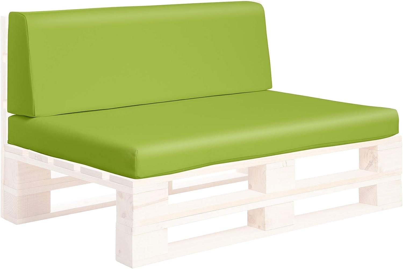 jardin No incluye palet Conjunto colchoneta para sofas de palet y respaldo Verde Pistacho | Cojines para chill out Cojin relleno con espuma interior y exterior 1 x Unidad