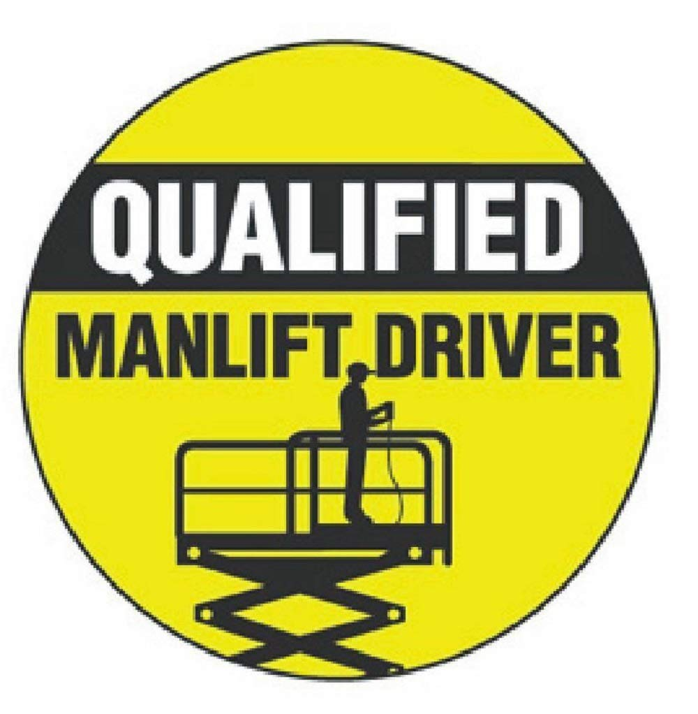manda_ol 100 Pack 2'' inches Qualified Manlift Driver Hard Hat Decal Hardhat Sticker Helmet Label