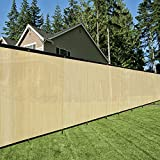 Originline 5x10ft Tan Fence Privacy Screen with 20 Zip Ties & Grommets/Shade Cloth/Shade Fence/Commercial Backyard Fence