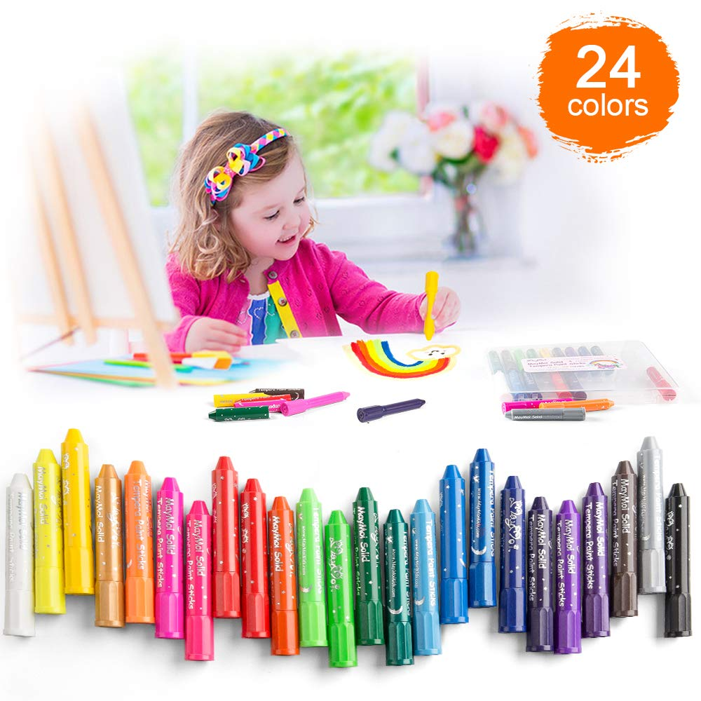 MayMoi Washable Crayons Solid Tempera Paint Sticks for Kids, Teens and Adults, 24 Colors, Non-Toxic, Quick Drying by MayMoi