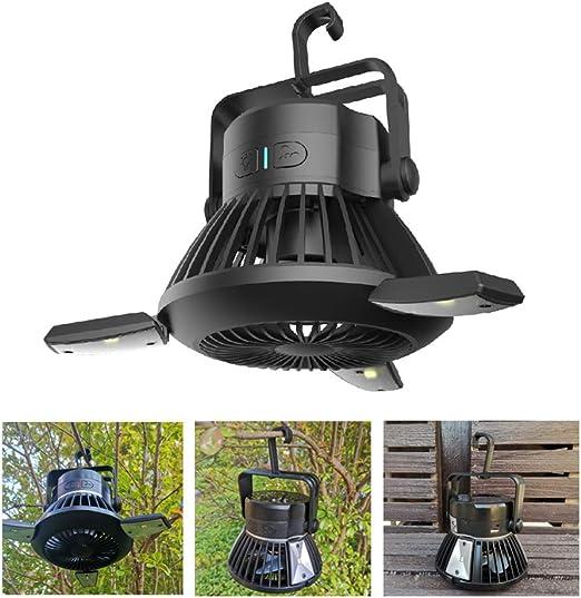 Luz solar con ventilador portátil sin cableado para exteriores, camping, patio, jardín: Amazon.es: Iluminación