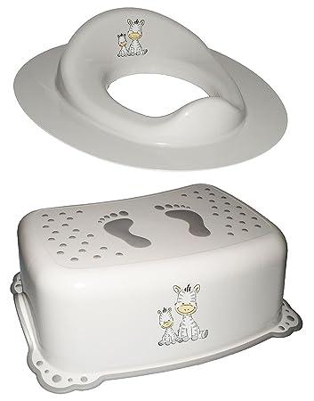auch f/ür Toilettentrainer Tritthocker // Trittschemel // Kindersitz Namen Unbekannt Anti RUTSCH Zebra incl wei/ß Bad Kunststof.. f/ür Kinder M/ädchen Jungen
