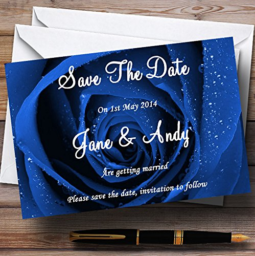 Stunning Royal Blue Rose Personalized Wedding Save The Date Cards
