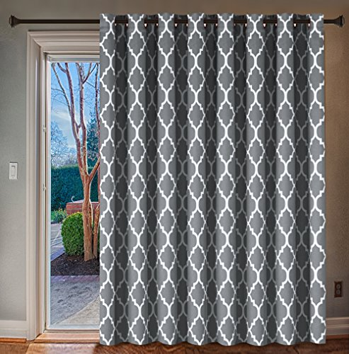 H.VERSAILTEX Wide Blackout Patio Door Curtain Home Fashion Window Panel Drapes for Glass Door, 16 Copper Grommets - Grey - 100 inch Wide by 96 inch Long - Moroccan Tile Quatrefoil Pattern