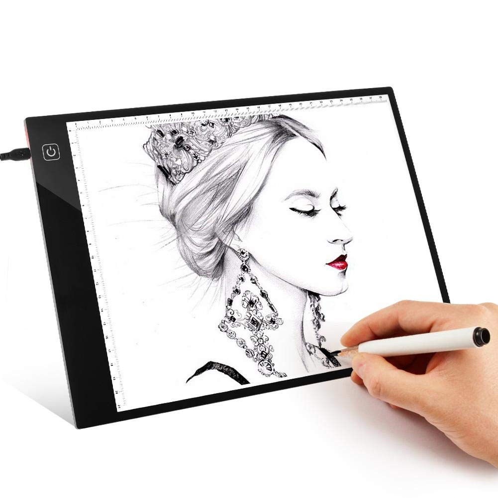 vanpower Digital A4 Copy Board with Scale Light Box Art Drawing Tracing Table Pad for Pencil Sketching Architecture Calligraphy, Stepless Adjust Brightness